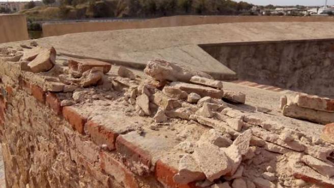 Destrozos en la Alcazaba de Badajoz