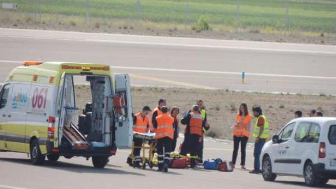 El Aeropuerto de Teruel supera un nuevo simulacro de accidente aéreo