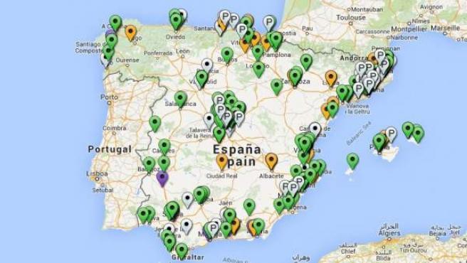 Mapa de los centros de educación alternativa en España de la web Ludus.