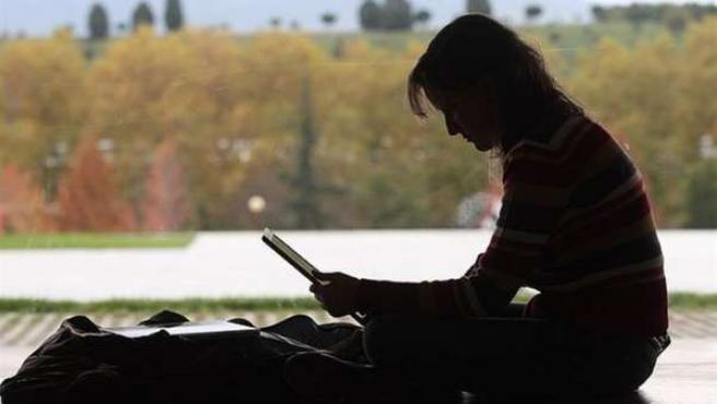 Una mujer utilizando el ordenador portátil.