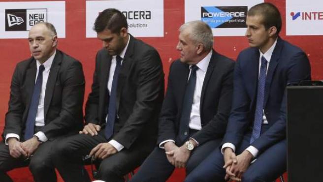 Zeljko Obradovic, Pablo Laso, Felipe Reyes y Nemanja Bjelica en la presentación de la Final Four.