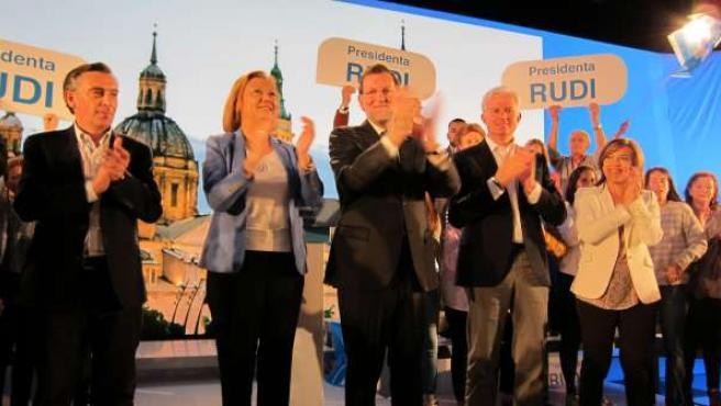 Rajoy, con candidatos del PP, entre ellos Suárez