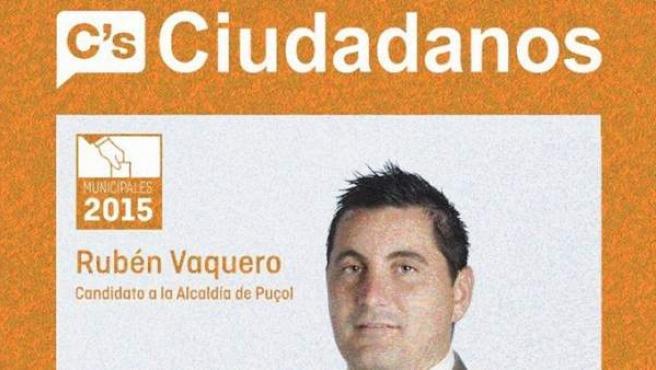 Cartel electoral de Rubén Vaquero, hermano de John Cobra, con Ciudadanos.