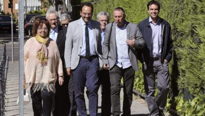 El portavoz del PSOE en el Congreso, Antonio Hernando, y otros portavoces de otros grupos parlamentarios a su llegada al Tribunal Constitucional donde han presentado un recurso de inconstitucionalidad contra la Ley de Seguridad Ciudadana.