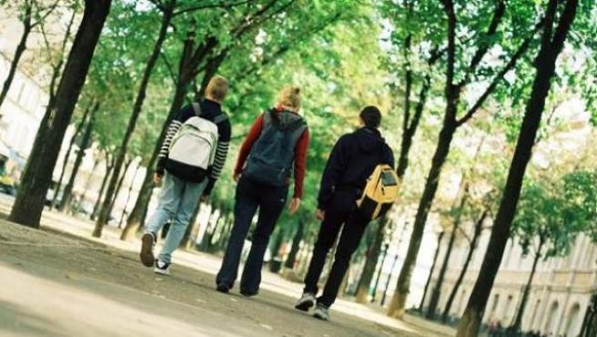 Tres niños camino al colegio.