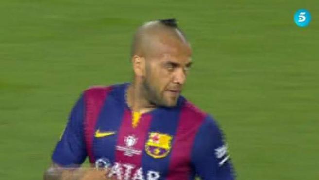 El futbolista brasileño del FC Barcelona Dani Alves, en la final de Copa del Rey.
