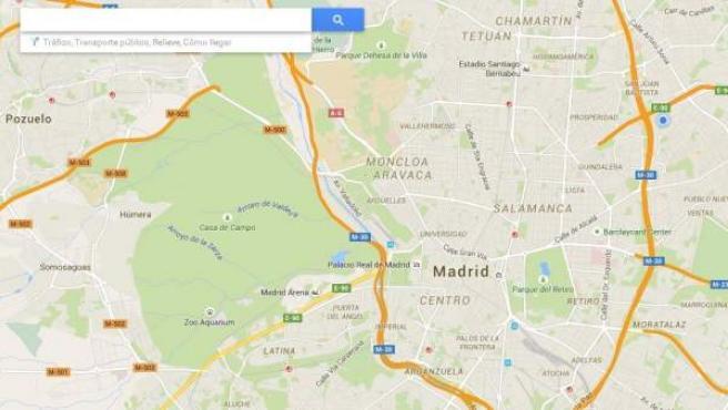 Captura de pantalla de la aplicación on line de Google Maps.