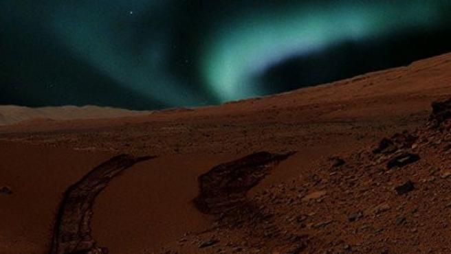 Montaje artístico de una aurora boreal en Marte.