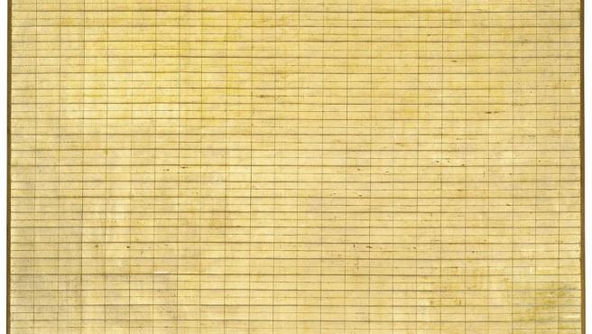Una de las cuadrículas minimalista de la pintora Agnes Martin