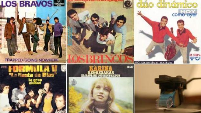 Discos de Los Bravos, Los Brincos, Dúo Dinámico, Fórmula V y Karina, algunos de los amos del guateque.