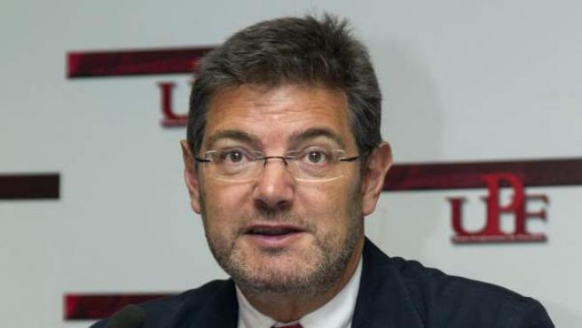 El ministro de Justicia, Rafael Catalá, durante la clausura del XXX Congreso de la Unión Progresista de Fiscales en Palma de Mallorca.
