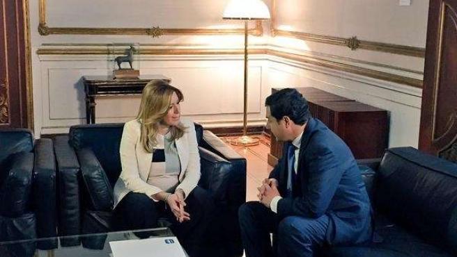 Susana Díaz y Juanma Moreno reunidos en San Telmo