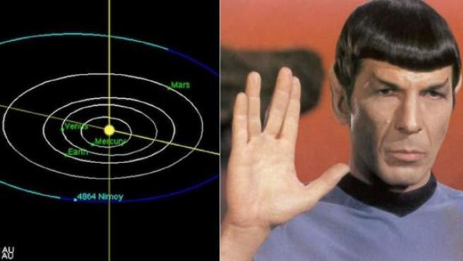 Ubicación del asteroide con el nombre del actor Leonard Nimoy, conocido como señor Spock.