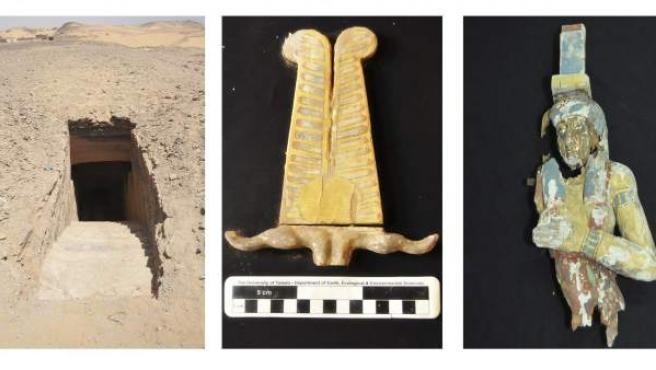 Fotografías facilitadas por el Ministerio egipcio de Antigüedades de restos de las seis tumbas con momias encontradas en la localidad meridional de Asuán.