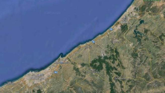 Ubicación de la ciudad de Ben Slimane, entre Rabat y Casablanca, donde unos escolares han muerto ahogados.
