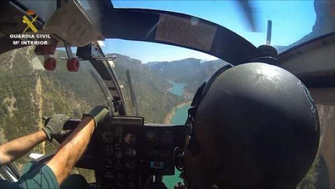 Helicóptero de la Guardia Civil de Huesca que ha intervenido en los rescates.