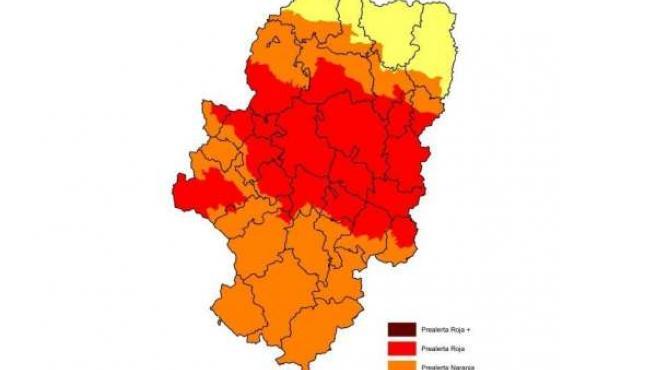 Mapa de incendios del 8 junio de 2015 en Aragón