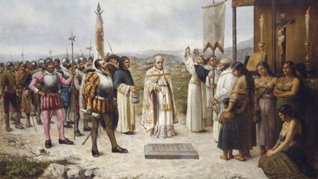 Cuandro de fecha y autor desconocidos que ilustra la fundación de Lima en 1535 con Pizarro presidiendo el acto