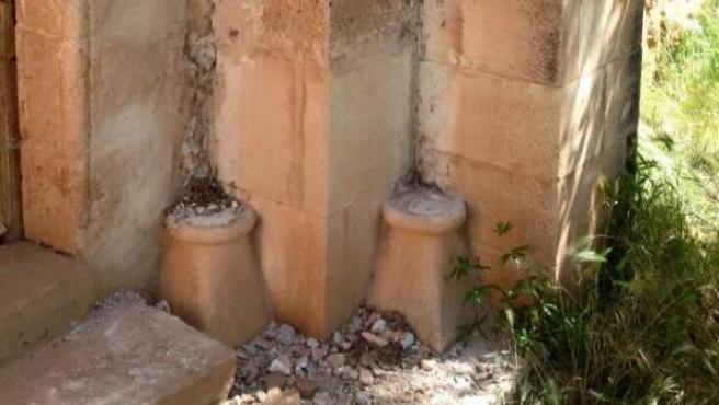 Estado en el que quedaron las columnas del templo tras el robo
