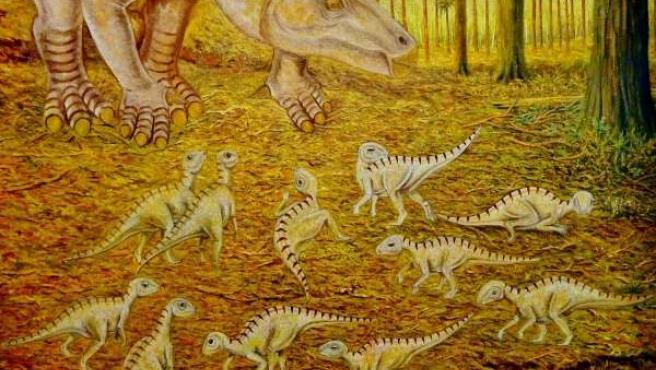 Recreación de la guardería de Iguanodon galvensis