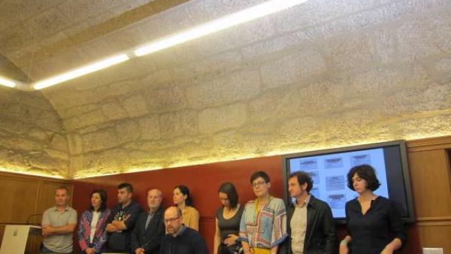 Equipo de gobierno y Martiño Noriega, en rueda de prensa