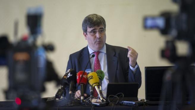 Miguel Cardenal, presidente del Consejo Superior de Deportes, durante una comparecencia ante los medios de comunicación en Barcelona en marzo de 2015.