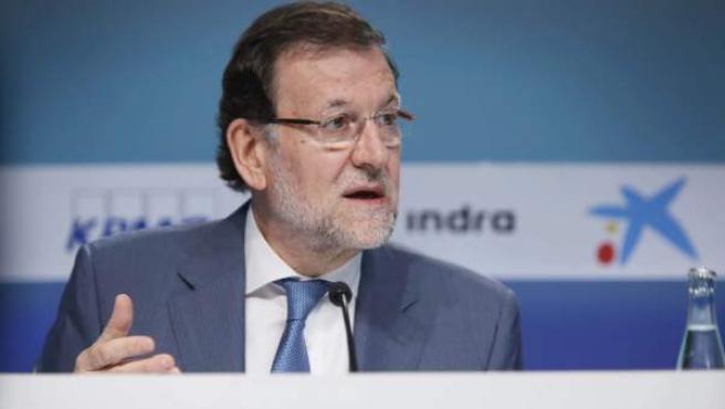 El presidente del Gobierno, Mariano Rajoy, durante su intervención en la jornada de clausura de la XXXI Reunión del Círculo de Economía en Sitges (Barcelona).