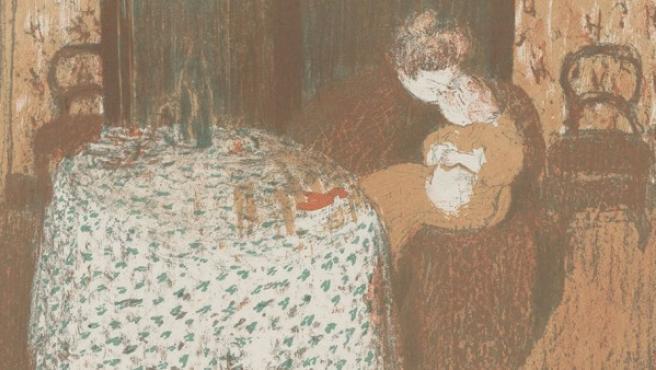 Prueba de Vuillard para la litografía 'La maternidad'