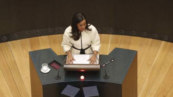 La líder de Ciudadanos en el Ayuntamiento de Madrid, Begoña Villacís, durante su intervención tras el acto de constitución del consistorio madrileño.