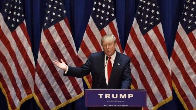 El magnate estadounidense Donald Trump anuncia su candidatura a la presidencia de Estados Unidos durante un evento en Nueva York (Estados Unidos).