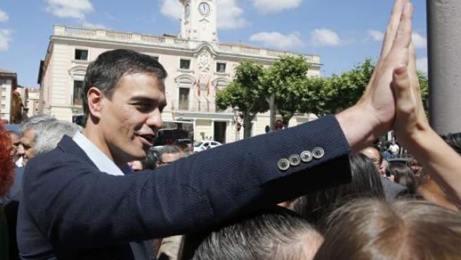 El secretario general del PSOE, Pedro Sánchez, en Alcalá de Henares.