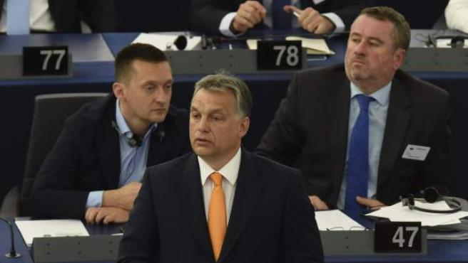 El primer ministro húngaro, Víktor Orbán durante su intervención en un pleno del Parlamento Europeo en Estrasburgo.