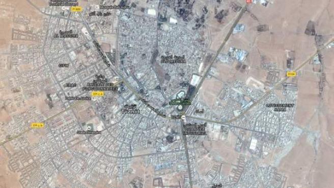 Vista aérea de la ciudad de Tiznit al sur de Marruecos.