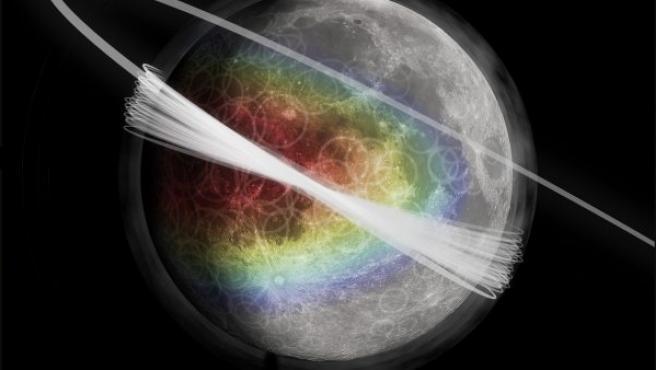 Imagen artística de la nube de polvo que rodea la Luna, donde el color representa la cantidad de material expulsado desde la superficie.