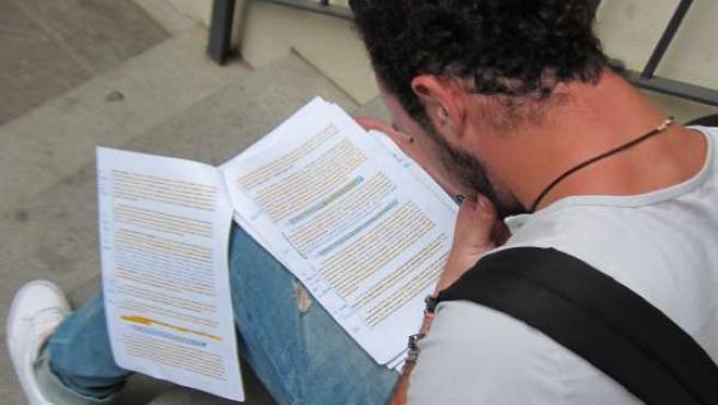 Estudiante Repasa Sus Apuntes Antes De La Selectividad (PAU). Alumno, Examen