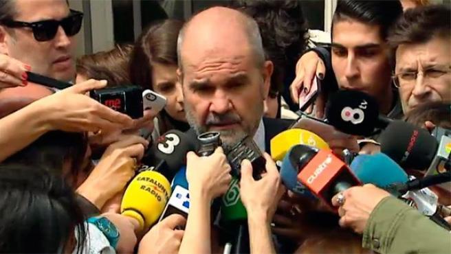El expresidente de la Junta de Andalucía, Manuel Chaves, a la salida del Tribunal Supremo.