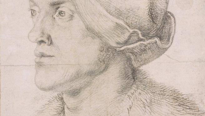 Alberto Durero dibuja en carboncillo sobre papel a su hermano Endres en torno al año 1518