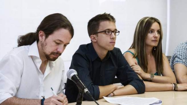 El secretario general de Podemos, Pablo Iglesias, el secretario político, Íñigo Errejón, en un acto de Podemos.
