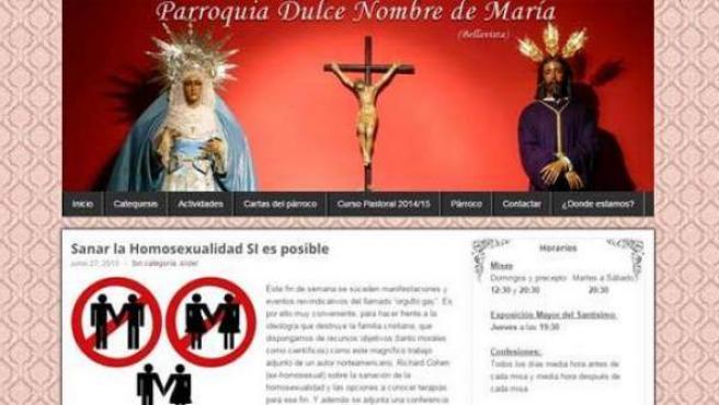 Imagen de la entrada que se publicó en la web de la parroquia sevillana