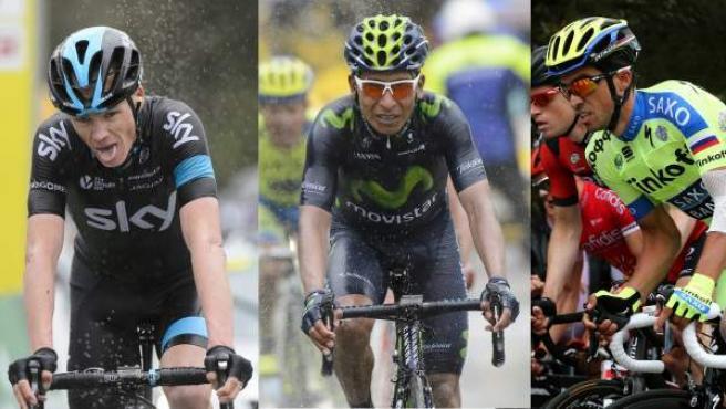De izquierda a derecha: Vincenzo Nibali, Chris Froome, Nairo Quintana y Alberto Contador.
