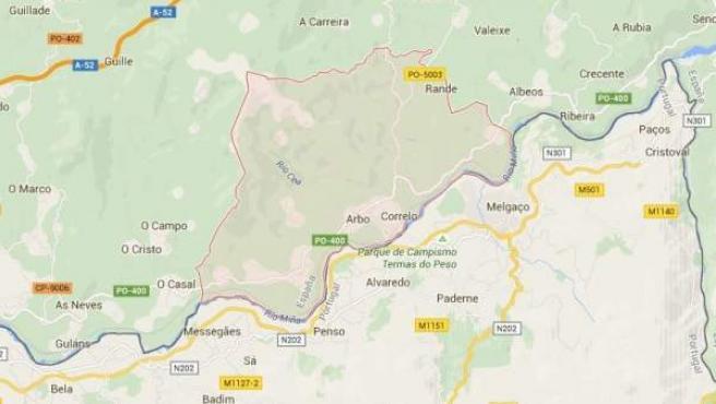 Imagen de mapa de la localidad pontevedresa de Arbo, en Pontevedra.