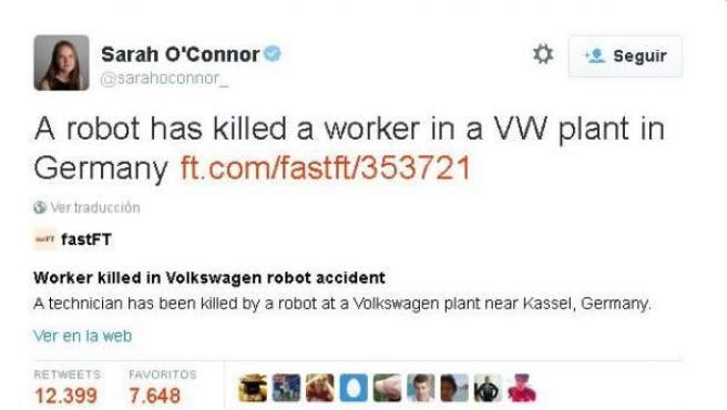 Tuit viral de la periodista del Financial Times Sara O'Connor.