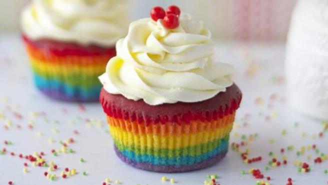 Cupcake arcoíris de Cupcakesadiario.com
