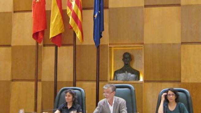 El alcalde de Zaragoza, Pedro Santisteve, en sesión plenaria.