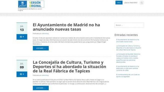 Imagen de la web del Ayuntamiento de Madrid 'Madrid VO'.