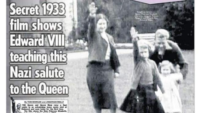 Portada de 'The Sun', donde aparce la reina Isabel II haciendo el saludo nazi de pequeña.