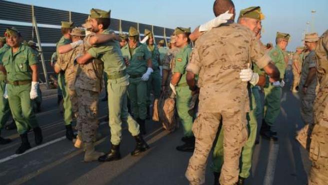 Llegada de contingente de la Legión a Almería