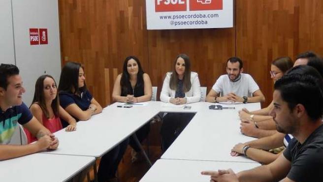 Reunión de la secretaria de Educación y Universidades del PSOE-A, Esther Ruiz