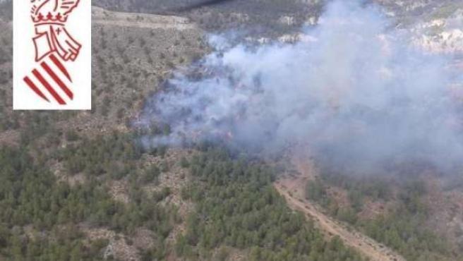 Incendio forestal en Requena