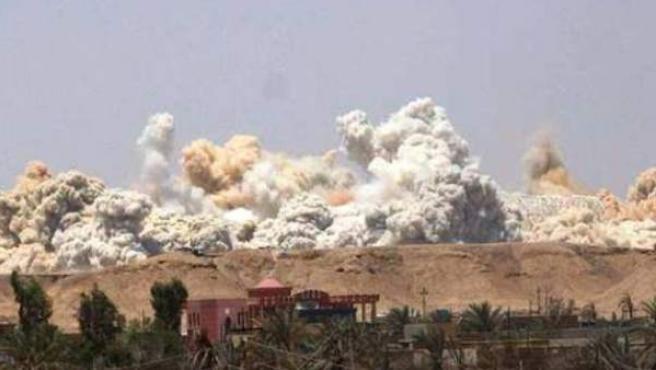 Captura de un vídeo de la destrucción del estado Olímpico de la ciudad iraquí de Ramadi (capital de la provincia de Anbar).